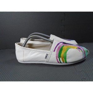 Womens Sz 11 TOMS White Satin Embroidery Shoes